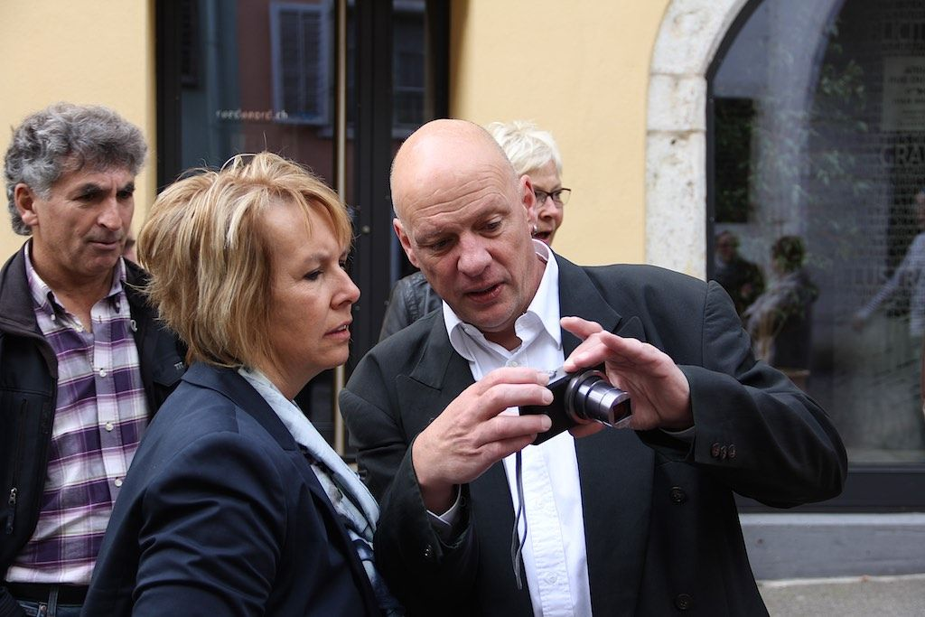 Visite de la vieille ville de Delémont avec les candidats socialistes et apéritif au marché, samedi 19 septembre 2015 (© PSJ)